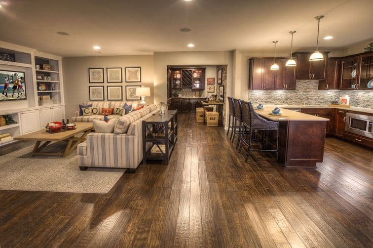48 Interesting And Versatile Ways To Transform An Old Basement Into Cool Basement Kitchen Designs Concept