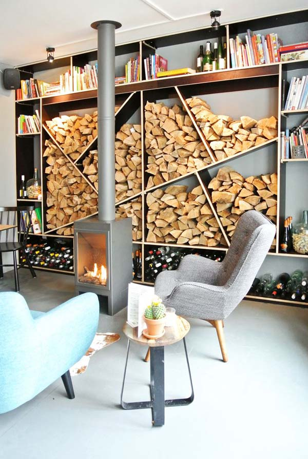 21 Stunning Firewood Storage Focal Points & Their Magical Fireplaces homesthetics decor (20)