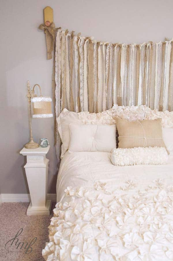 #12 BE CREATIVE AND DESIGN YOUR OWN HEADBOARD BY USING ALTERNATING BURLAP AND LACE STRIPES