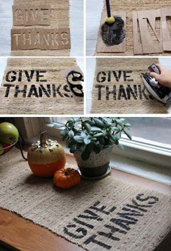 #13 CREATE A CUSTOMIZED TABLE MATH BY STENCILING A WONDERFUL MESSAGE ON AN ELEGANT BURLAP PIECE