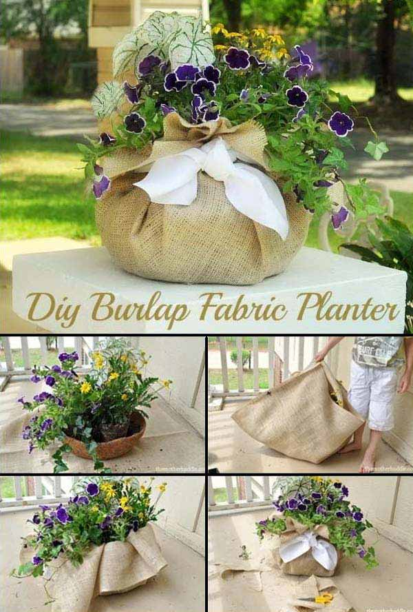 #15 THIS DIY BURLAP FABRIC PLANTER IDEA WILL TRANSFORM YOUR BACKYARD