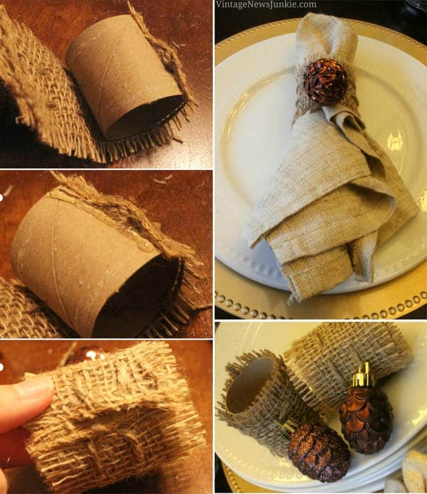 #16 USE TOILET PAPER ROLLS AND BURLAP TO CREATE NAPKIN RINGS FOR YOUR DINNER TABLE