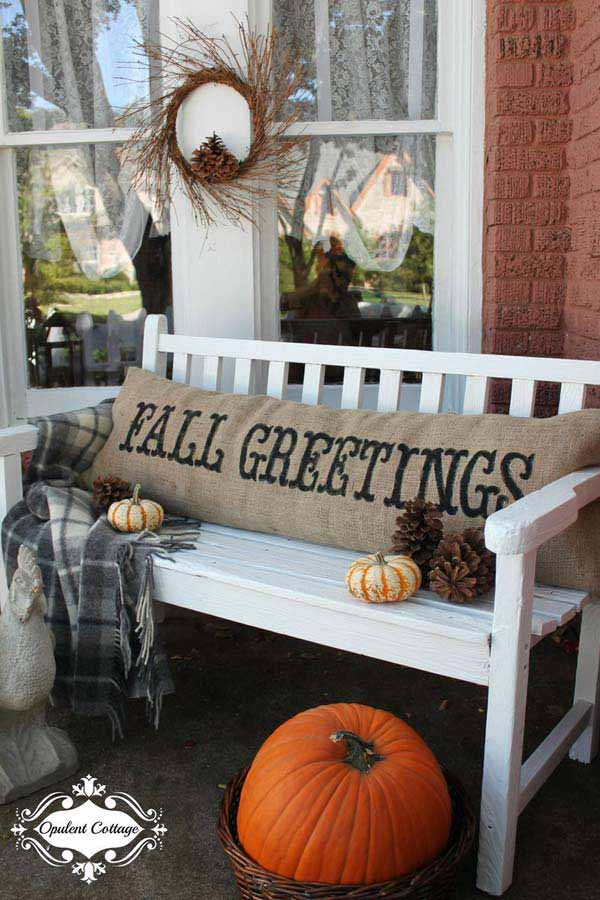 #17 ENJOY SEASON WEATHER ON YOUR PORCH WITH BURLAP COVERED PILLOWS AND FLUFFY BLANKETS