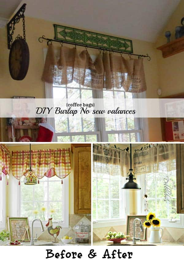 #18 ADD COZINESS TO YOUR KITCHEN DECOR BY CREATING FUN DIY BURLAP NO SEW VALANCES
