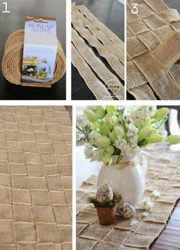 #20 USE BURLAP STRIPS TO WEAVE A BEAUTIFUL TABLE MATH