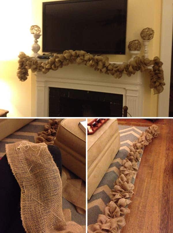 #24 CREATIVE DIY BURLAP GARLAND PERFECT FOR YOUR FIREPLACE MANTEL