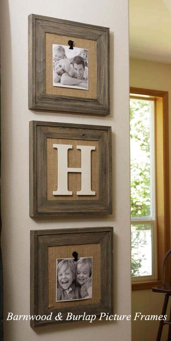 #25 BARN-WOOD AND BURLAP PICTURE FRAMES WILL ADD A COZINESS AND A HOMEY FEELING TO YOUR HOUSEHOLD