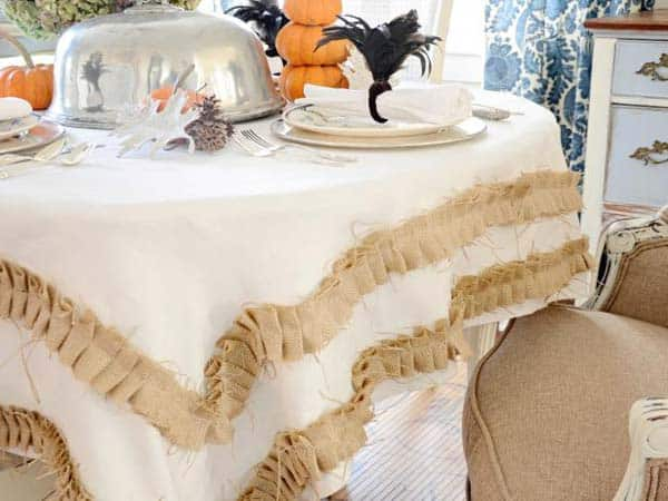 #26 TURN A SIMPLE PLAIN WHITE FABRIC TABLE CLOTH INTO SOMETHING UNIQUE BY ADDING BURLAP FINISHES