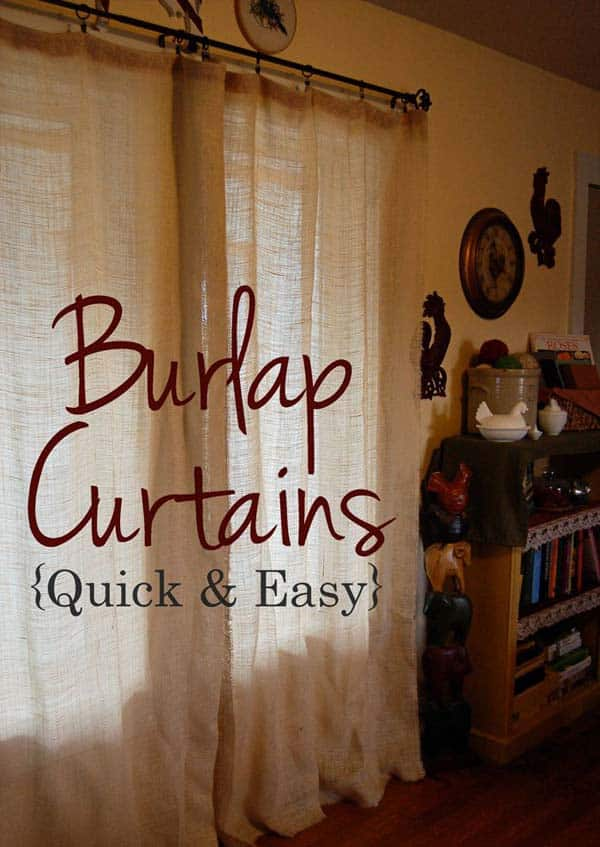#28 FILTER THE LIGHT ENTERING YOUR HOUSEHOLD BY ADDING QUICK BURLAP CURTAINS