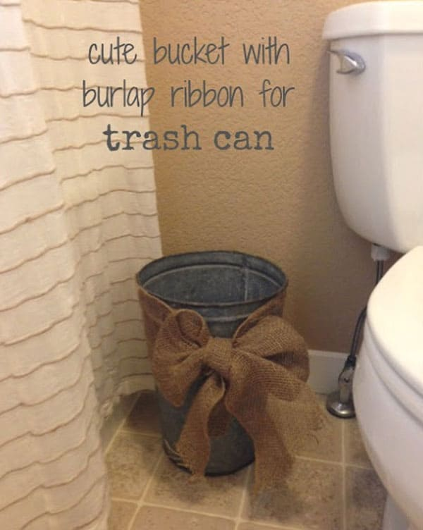 #31 DRESS UP YOUR TRASH CAN IN BURLAP RIBBON