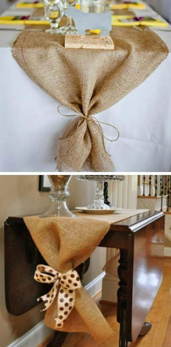 #6 A TABLE RUNNER MADE OF A NATURAL MATERIAL SUCH AS BURLAP WILL AD ELEGANCE