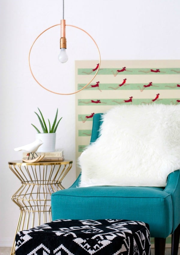ENJOY THE MIDNIGHT STORIES UNDER THIS DIY COPPER HOOP LIGHT