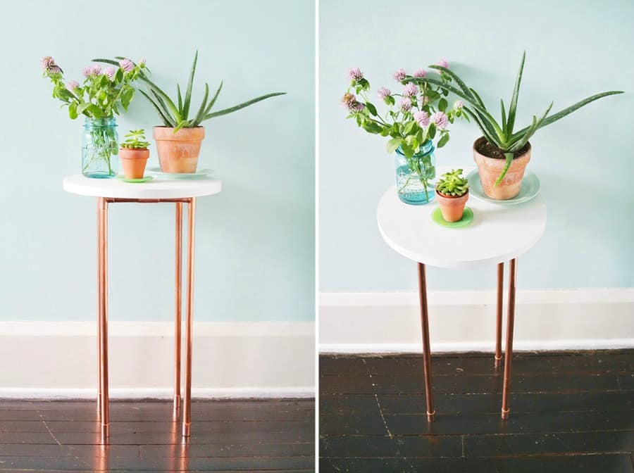 DIY COPPER PIPE SIDE TABLES FOR SOME ADDITIONAL DECORATION IN THE LOUNGE