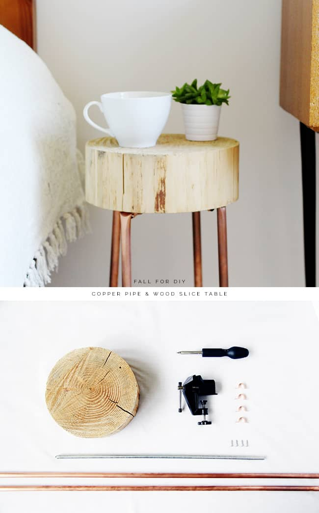 TRY THIS DIY COPPER & WOOD SLICE TABLE