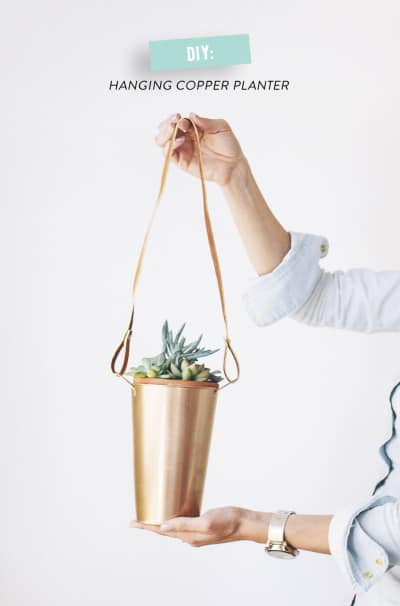A GREAT DIY HANGING COPPER PLANTER IDEA
