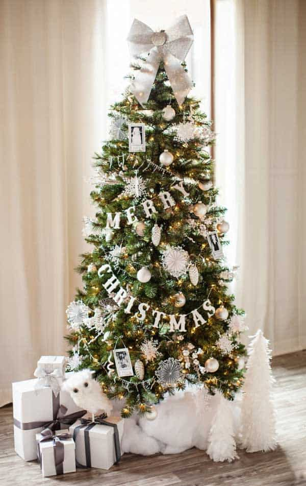 SILVER AND WHITE CHRISTMAS TREE WITH YELLOW STRING-LIGHT -Gallery of 25 Charmingly Beautiful Christmas Trees For Happy Shelters homesthetics decor (2)