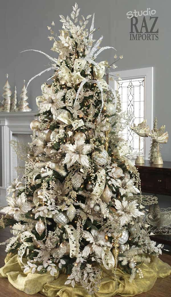 21 floral white and silver elements defining a jaw dropping white christmas tree setup - White Christmas Decorating Theme