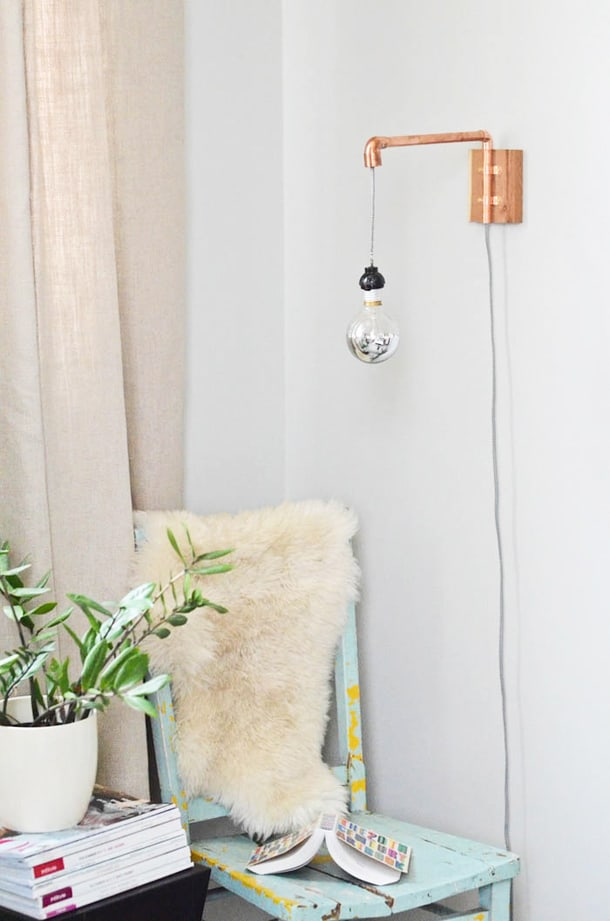 COPPER PIPE WALL SCONCE FOR DÉCOR