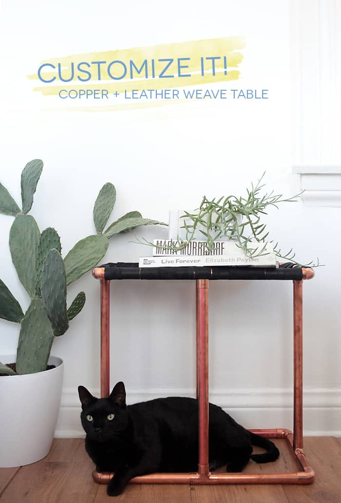 HOW ABOUT A COPPER & LEATHER WEAVE TABLE