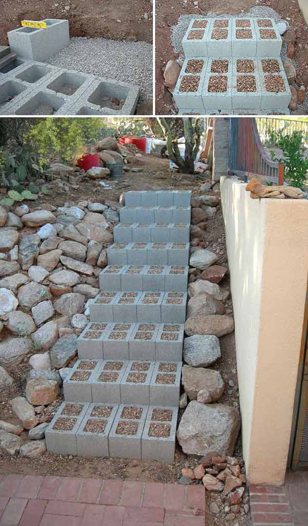 Creative do it yourself cinder block projects for your home 14 garden stair easily constructed with sand and cinder blocks 16 creative do it yourself cinder block projects for your home solutioingenieria Images