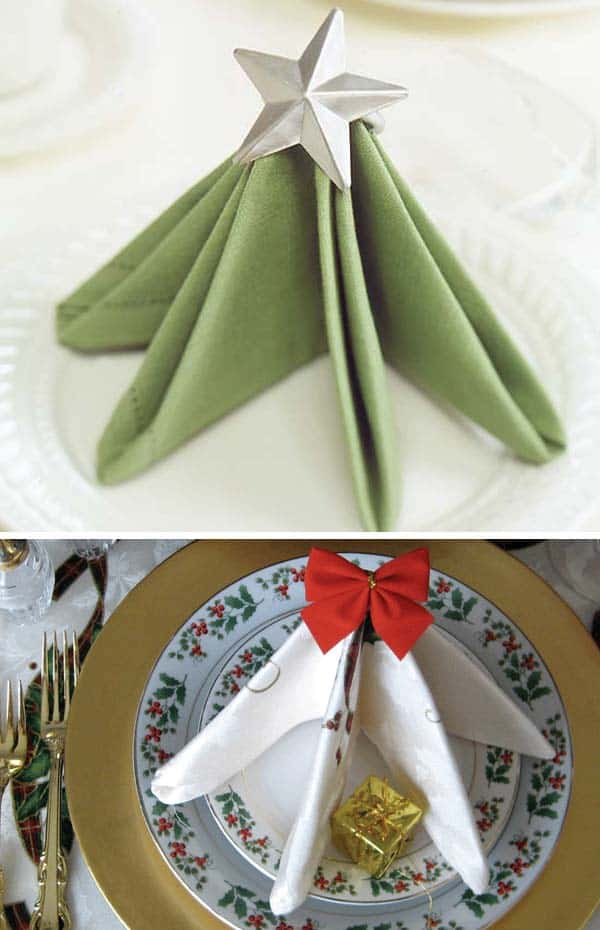 17 Super Delicate Napkin Ideas For Your Christmas Table Setting homesthetics decor (12)