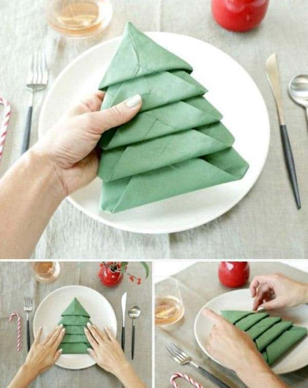 17 Super Delicate Napkin Ideas For Your Christmas Table Setting homesthetics decor (14)