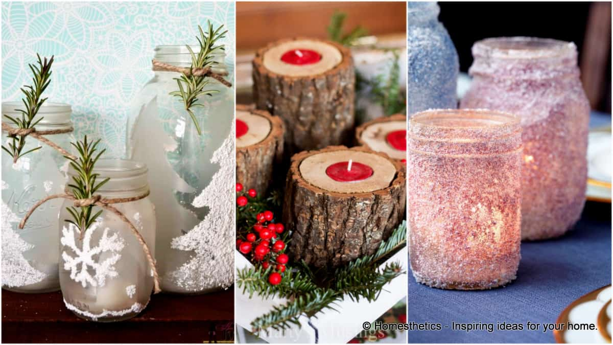 17 stunning diy holiday candle holder ideas - Christmas Log Candle Holder Decorations