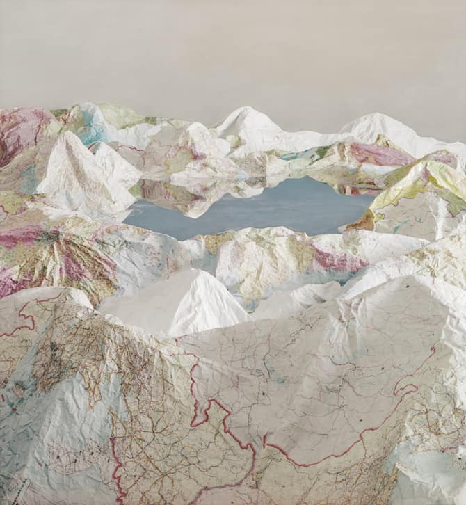 Maps Sculpted by Ji Zhou Into Three Dimensional Landscapes homesthetics art 1