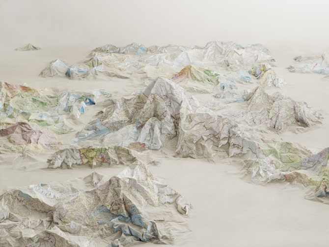 Maps Sculpted by Ji Zhou Into Three-Dimensional Landscapes homesthetics art (2)