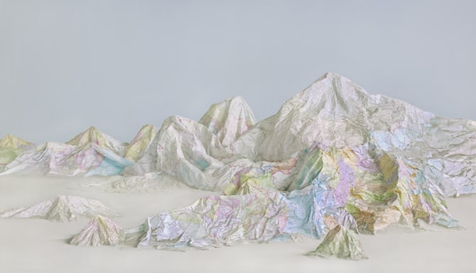 Maps Sculpted by Ji Zhou Into Three-Dimensional Landscapes homesthetics art (3)