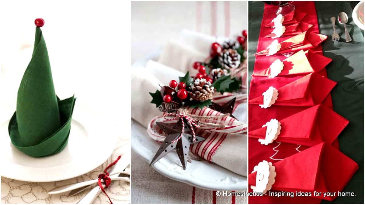 Super Delicate Napkin Ideas For Your Christmas Table