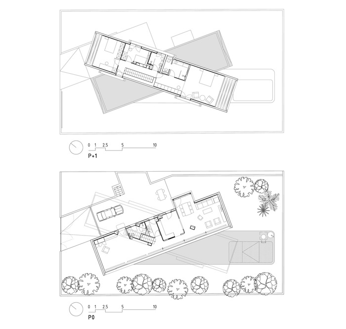 Two Cement Volumes Entitled The Crossed House By Clavel Arquitectos homesthetics architecture (7)