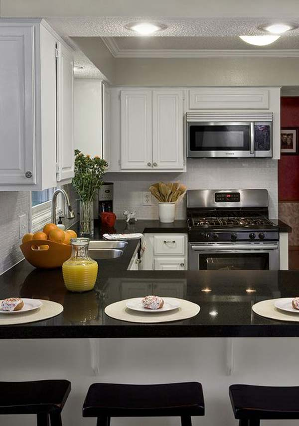 simple kitchen high end counter-tops in L-shaped layout.