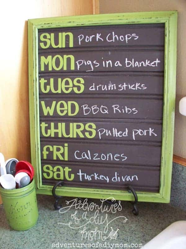 Display the menu for the week in style