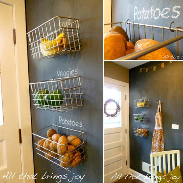A black wall can be a great organizer for simple items