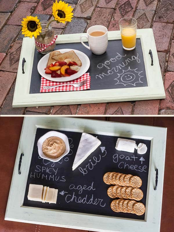 Create a breakfast tray out of an old window beautifully transformed with chalkboard