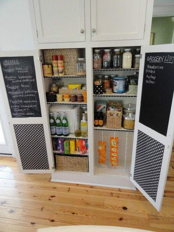 Organize and decorate the interior of your cabinet with chalkboard