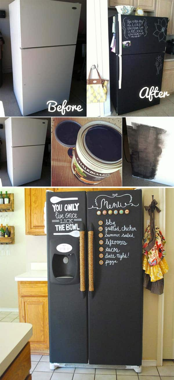 Up-cycle your old fridge with a chalkboard makeover