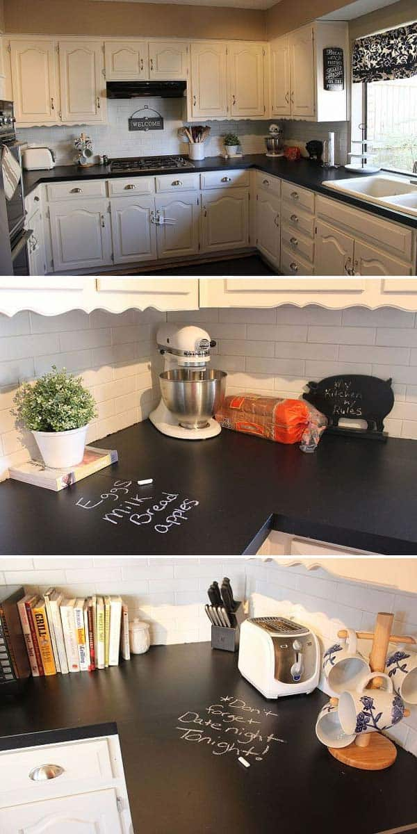 Small decor items like welcome signs can be realized in 30 minutes with chalkboard