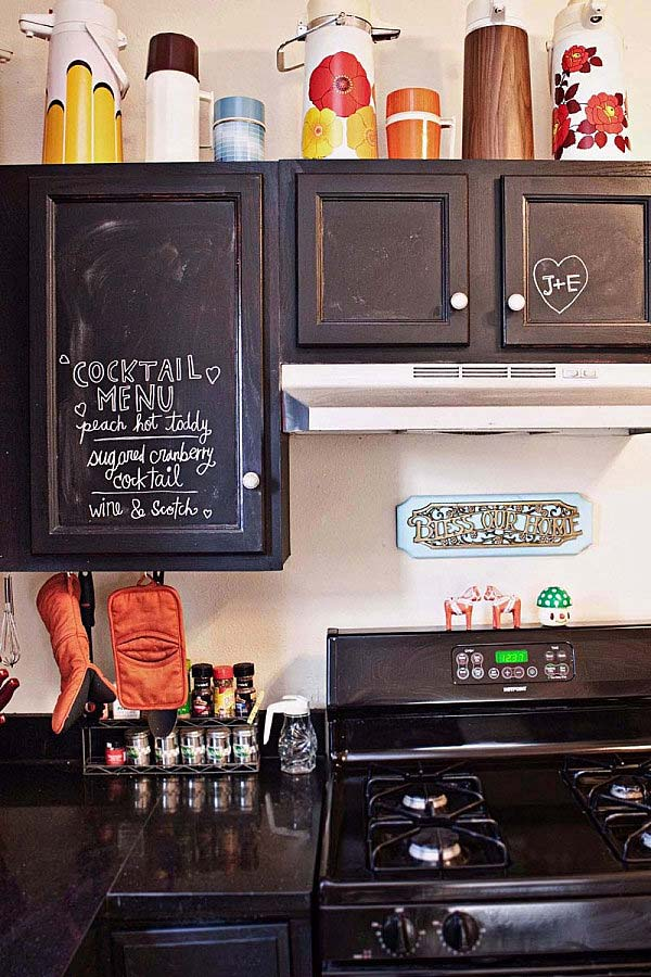 Chalkboard cabinet doors makeover can be realized fast with excellent result