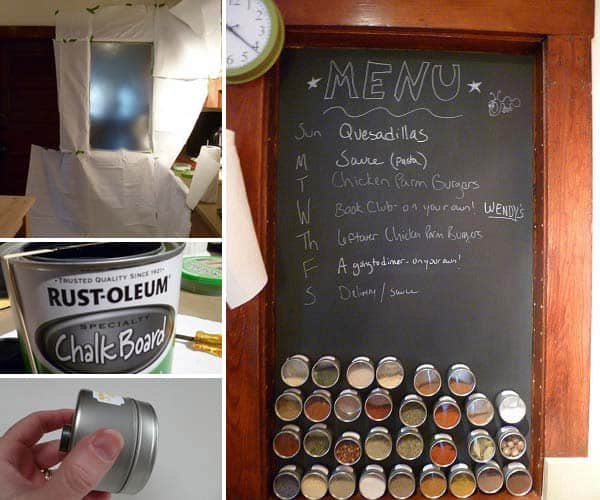 Use chalkboard paint on a metallic surface and organize your spices