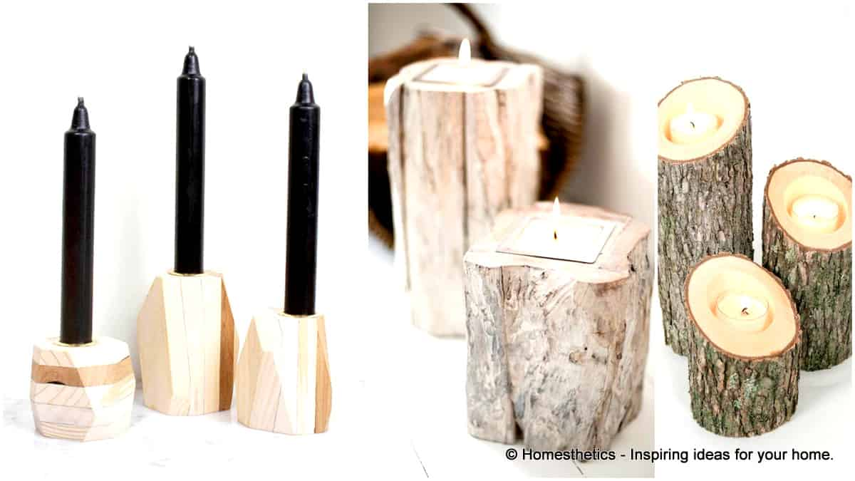 23 Wooden Candle Holders And Holder Centerpiece