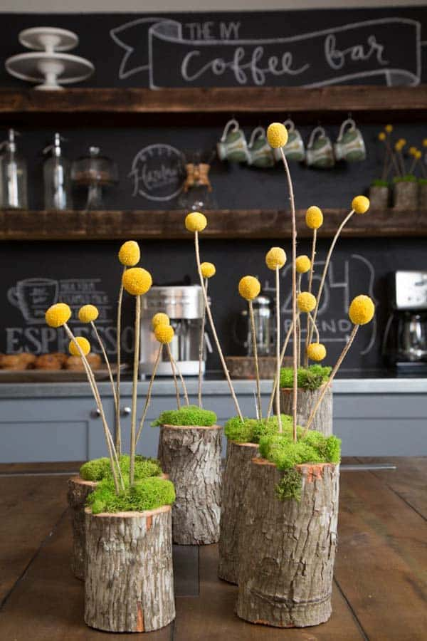 24 Beautiful Decorative Wooden Stump Vases Crafts For Your Household homesthetics crafts (1)