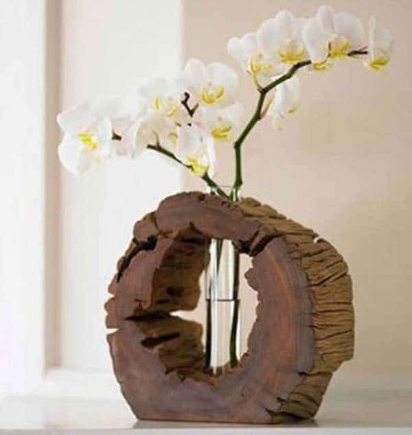 24 Beautiful Decorative Wooden Stump Vases Crafts For Your Household homesthetics crafts (10)