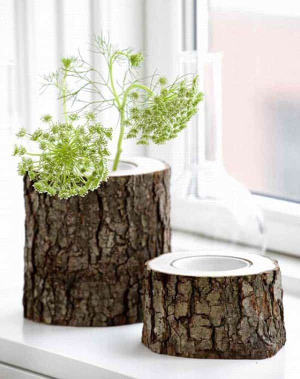 24 Beautiful Decorative Wooden Stump Vases Crafts For Your Household homesthetics crafts (14)