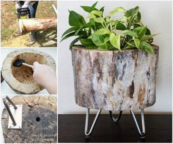24 Beautiful Decorative Wooden Stump Vases Crafts For Your Household homesthetics crafts (22)