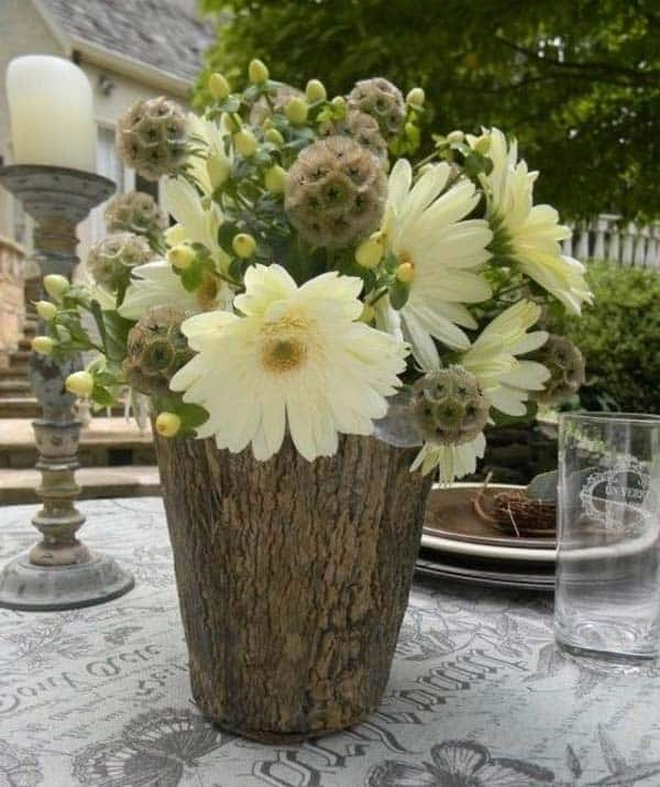 24 Beautiful Decorative Wooden Stump Vases Crafts For Your Household homesthetics crafts (3)