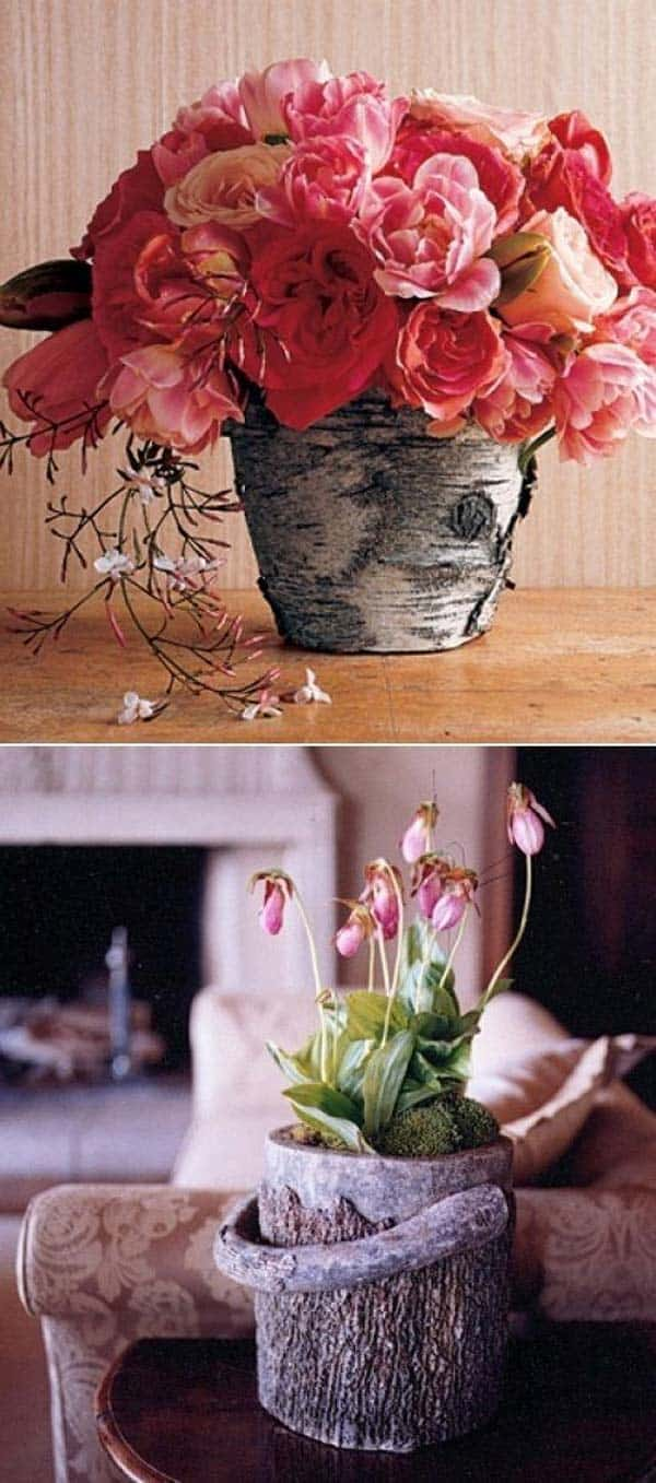 24 Beautiful Decorative Wooden Stump Vases Crafts For Your Household homesthetics crafts (4)