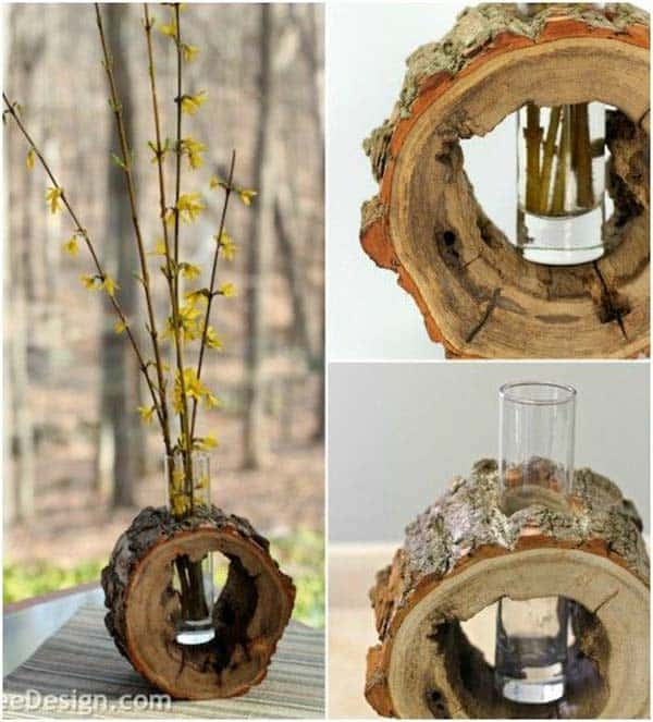 24 Beautiful Decorative Wooden Stump Vases Crafts For Your Household homesthetics crafts (6)