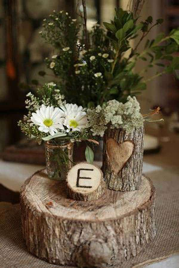 24 beautiful decorative wooden stump vases crafts for your for Baby shower tree decoration